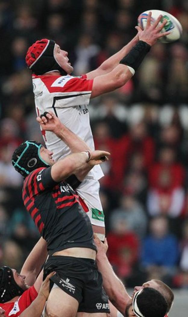 Ulster captain Johann Muller gets above Steve Borthwick to win the ball at the line-out