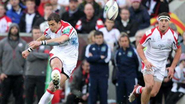 Ulster scrum-half kicked over three penalties in the first half but a shoulder injury forced him off early in the second half