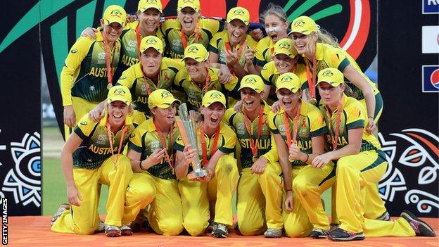 Australia celebrate winning the World Twenty20