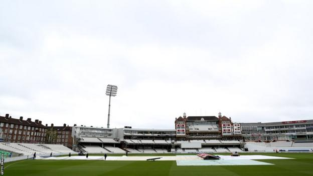 The covers are on at the Oval as the start of Glamorgan's opening County Championship game against Surrey is delayed.