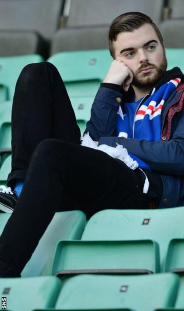 A lone Rangers fan at Easter Road