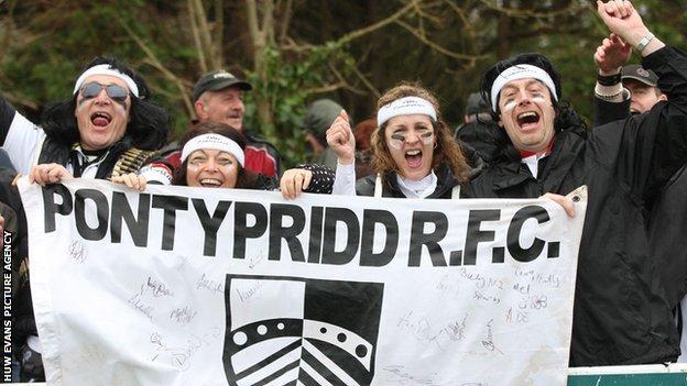 Pontypridd fans at Exeter