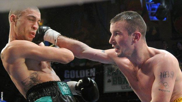 John Joe Nevin (right) in action in his first pro fight in America last month