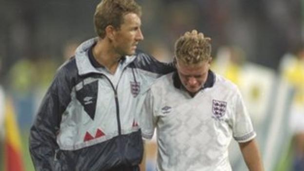 England's Paul Gascoigne after his side lose to West Germany