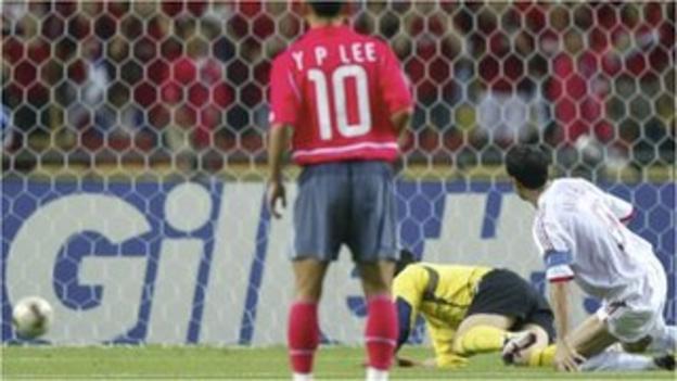Turkey's Hakan Sukur scores against South Korea
