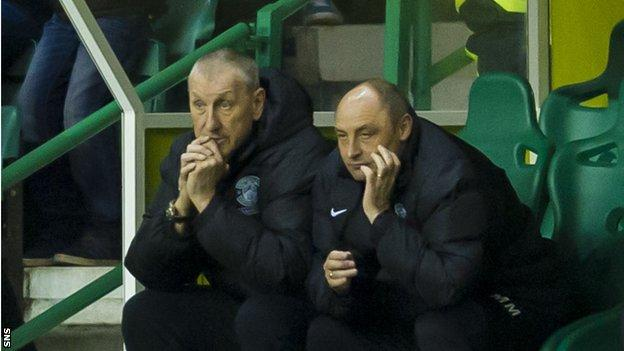 Hibs boss Terry Butcher (left) and assistant Maurice Malpas