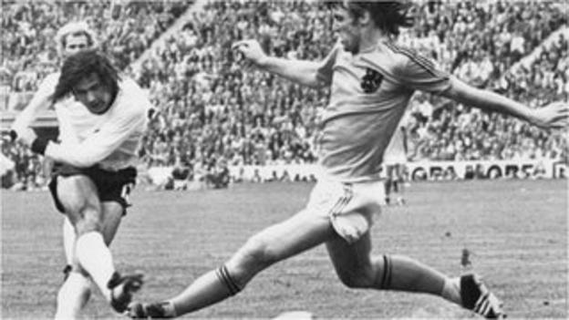 Gerd Muller scores the winner for West Germany against Netherlands