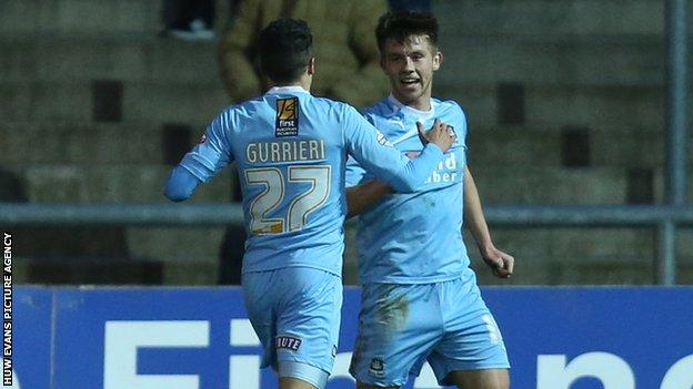 Plymouth's Tyler Harvey celebrates after scoring goal