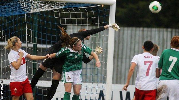 Poland goalkeeper Katarzyna Kiedrzynek clears a cross while under pressure from Northern Ireland's Simone Magill