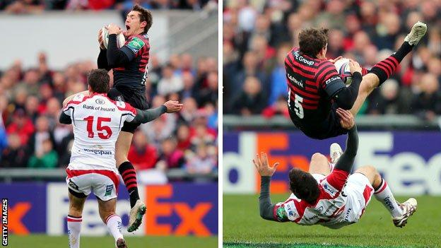 Jared Payne takes out the airborne Alex Goode