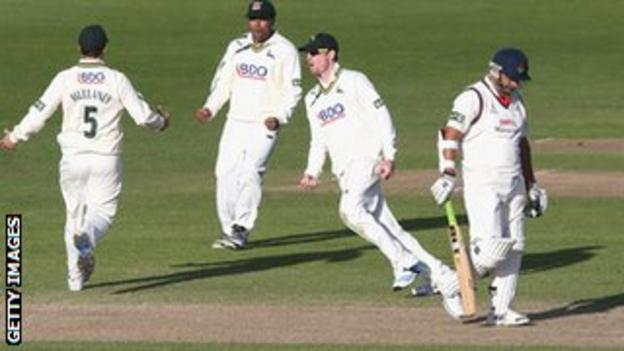 Nottinghamshire celebrate the wicket of Ashwell Prince