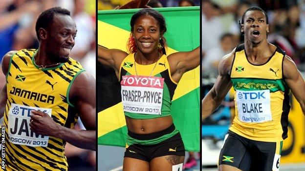 Organisers of Glasgow 2014 will be hoping Usain Bolt (L) and Yohan Blake (R) join Shelly-Ann Fraser-Pryce at the Games