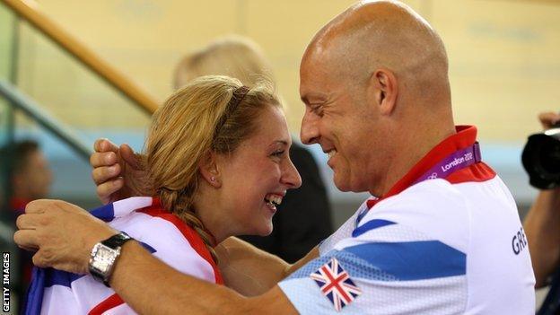 Sir Dave Brailsford congratulates Laura Trott