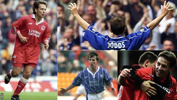 Billy Dodds playing for Aberdeen, Rangers, Dundee United and St Johnstone