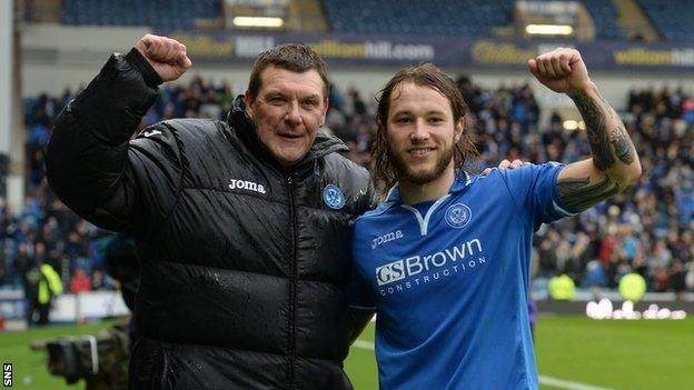 St Johnstone boss Tommy Wright and two-goal hero Stevie May