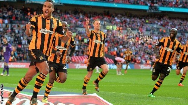 Tom Huddlestone celebrates Hull's third goal in their FA Cup semi-final win over Sheffield United
