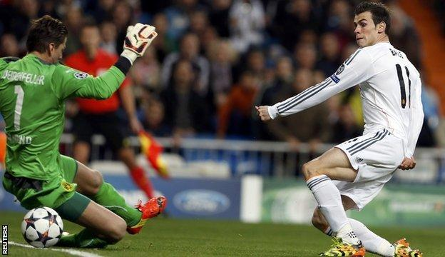 Real Madrid's Gareth Bale scores in the first leg of the Champions League quarter-final win over Borussia Dortmund