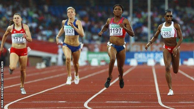 Cydonie Mothersill (centre, right) pictured winning the 200m Commonwealth Games final in Delhi ahead of (from left) Adrienne Power of Canada, Scotland's Lee McConnell and Joice Maduaka for England
