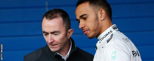 Paddy Lowe and Lewis Hamilton