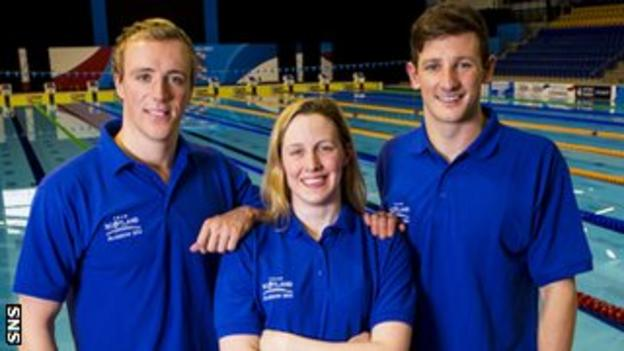 Three of Scotland's aquatics team