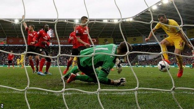 Crystal Palace's Joe Ledley scores his side's second goal in the 3-0 win at Cardiff