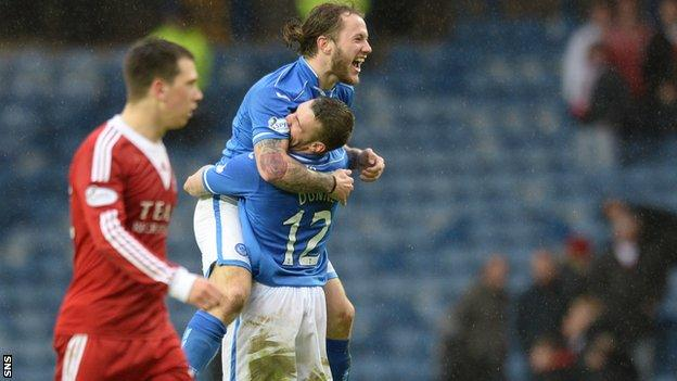 Stevie May celebrates after scoring in the Scottish Cup semi-final