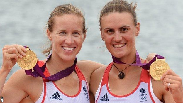 Heather Stanning (r) and Helen Glover at London 2012
