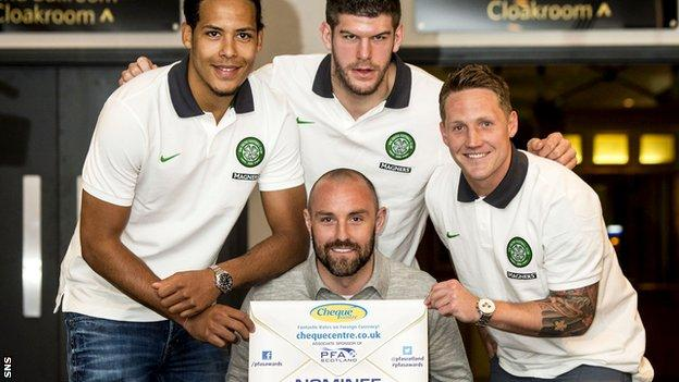 Virgil van Dijk, Fraser Forster and Kris Commons of Celtic with Kilmarnock's Kris Boyd