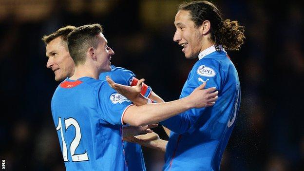 Rangers' Bilel Mohsni (right) celebrates with team-mate Fraser Aird