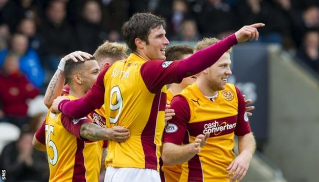 Motherwell striker John Sutton celebrates a goal