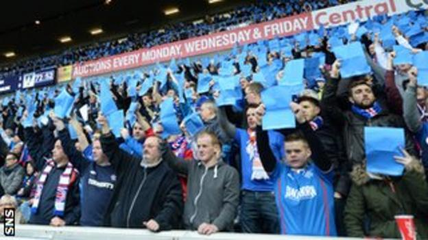 Rangers fans protest at Ibrox