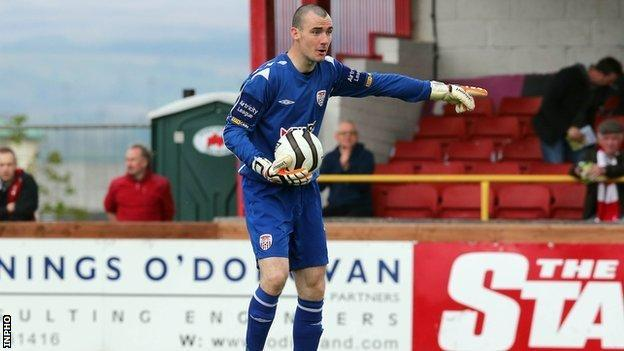 Ger Doherty made a number of fine saves for Derry