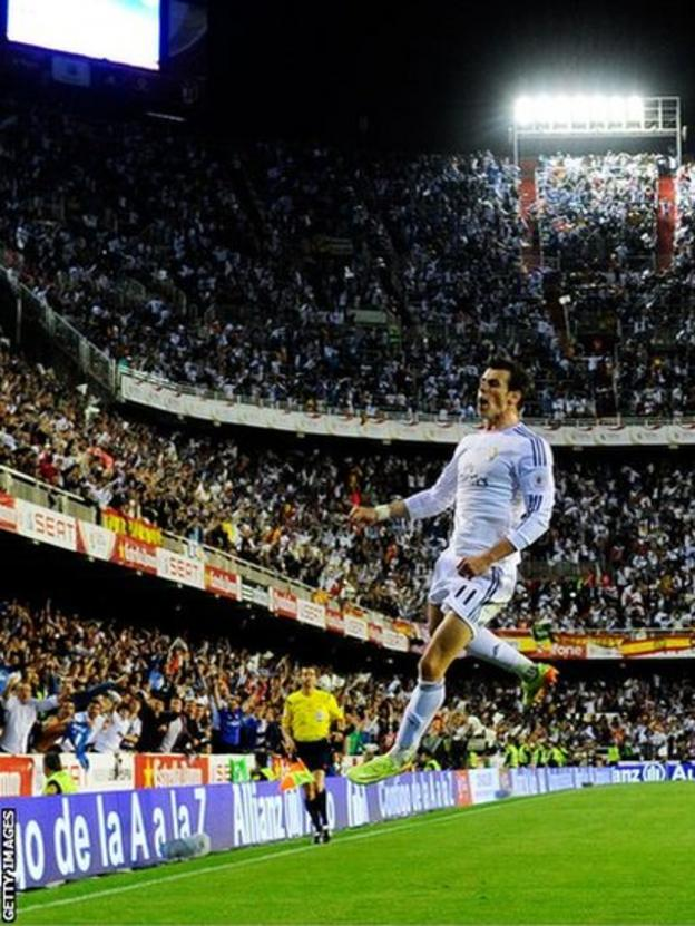 And Bale celebrates in style at Mestalla stadium in Valencia