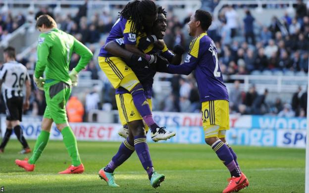 And Wilfried Bony was celebrating in the end with Marvin Emnes for company after the former sent in their winner from the penalty spot in Swansea's 2-1 triumph