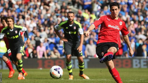 Peter Whittingham scores Cardiff City's first penalty of the season in the Premier League to equalise against Stoke City