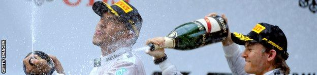 Hamilton and Rosberg celebrate
