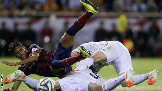 Neymar is tackled