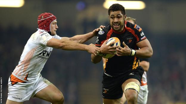 Taulupe Faletau on the attack for Newport Gwent Dragons against the Ospreys in Sunday's second Pro12 Welsh derby at the Millennium Stadium