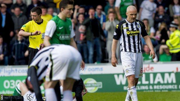 Jim Goodwin is sent off against Hibs