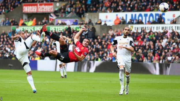 Robin van Persie scoring against Swansea City