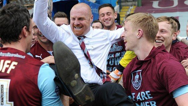 Sean Dyche and his Burnley players