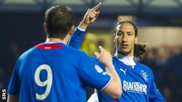 Rangers' Jon Daly and Bilel Mohsni celebrate