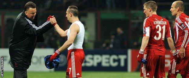 (left to right) Louis van Gaal, Franck Ribery, Bastian Schweinsteiger and Arjen Robben