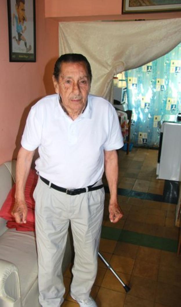 Alcides Ghiggia pictured at his home in Las Piedras, Uruguay