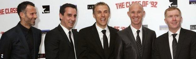 Together again. Four of Manchester United's 'Class of 92' are taking charge of first-team affairs.