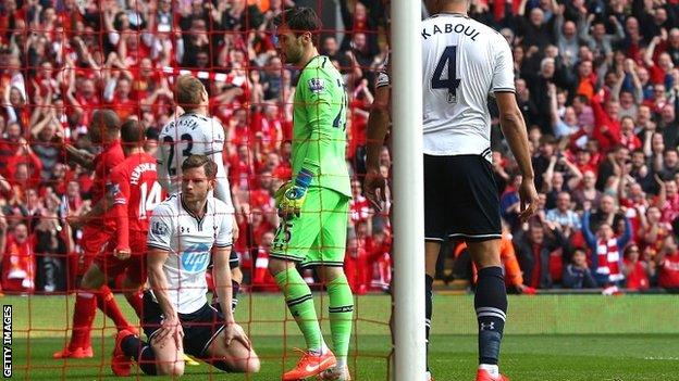 Tottenham suffered a heavy defeat at Liverpool in March