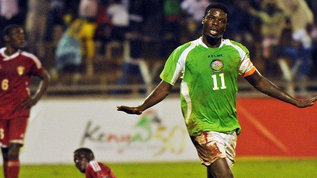 Kenya captain Allan Wanga (right) celebrates after scoring a goal during the 2013 Cecafa Cup final