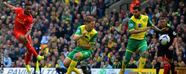 Raheem Sterling fires home Liverpool's first goal against Norwich
