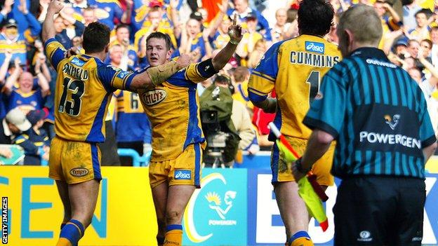Danny McGuire celebrates his try in the 2003 Challenge Cup semi-final win against St Helens