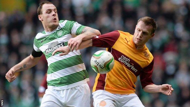 Steven Hammell challenges Celtic's Anthony Stokes